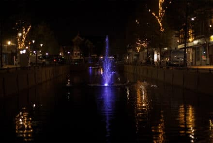 Canals of Sneek feature moving water and colorful lighting